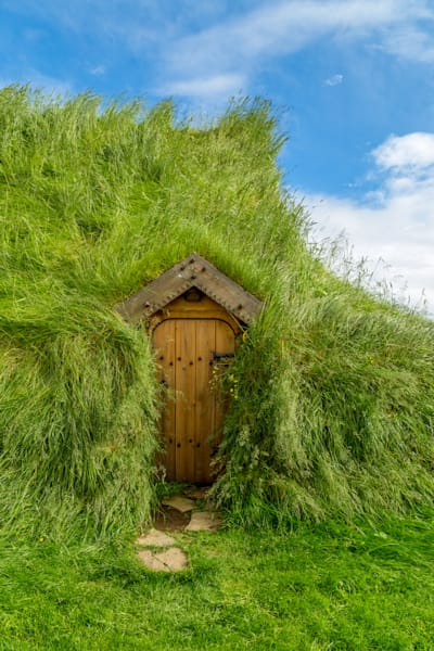 Turf House Door and Sky, Skalholt, Iceland