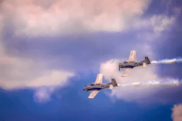 Airshow Military WW2 T-6 Warbird Trainer Precision Stunt fleblanc