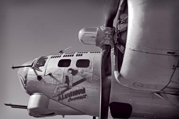 WW2 B-17/B17 Nose Art Monochrome Restored Aircraft fleblanc