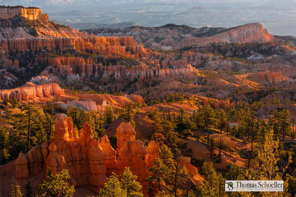 The amazing view peering out from Sunset Point, Bryce Canyon NP towards Boat Mesa. Fine art wall decor prints by Tom Schoeller