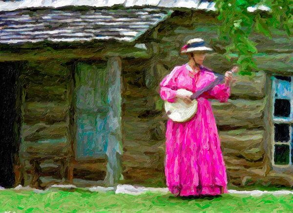 Banjo Lady In Pink Vintage Southwestern|Wall Decor fleblanc