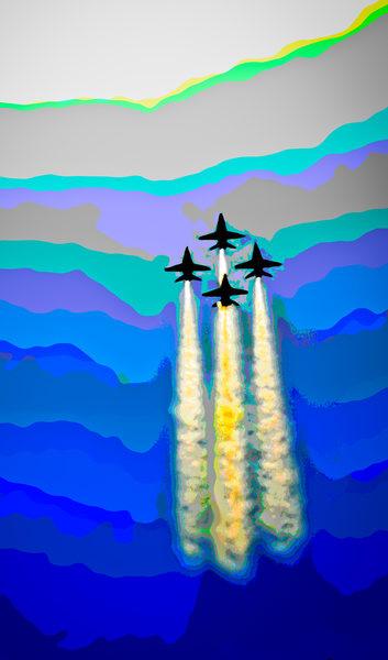 Blue Angels Abstract Air Force Aircraft Precision Stunt fleblanc
