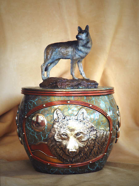 The Wolves Within Original Bronze/ Urn by Jammey Huggins