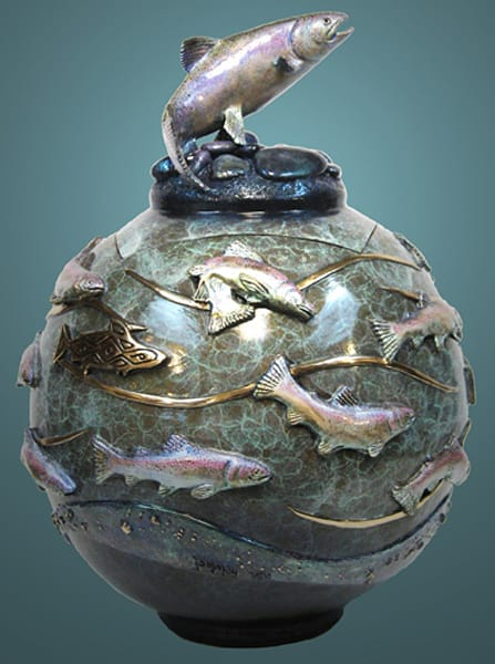 Gifts of the Water Original Bronze/ Urn by Jammey Huggins