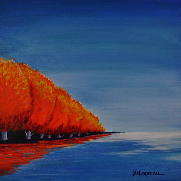 When Autumn Falls, fine art print of maple trees on the lake
