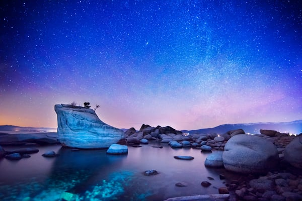 Night Shine, Night Photography of Bonsai Rock Lake Tahoe