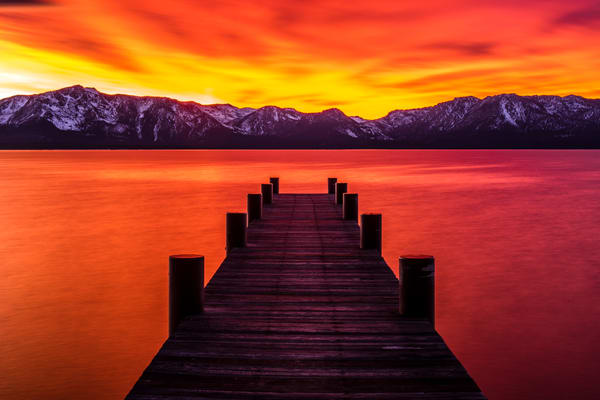 Tahoe Ablaze, Lake Tahoe Sunset art print by Brad Scott