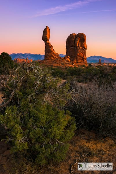 Afterglow Light on Balanced Rock - Arches National Park Utah by Thomas Schoeller