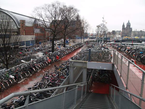 A HUGE Bicycle Rack in Amsterdam