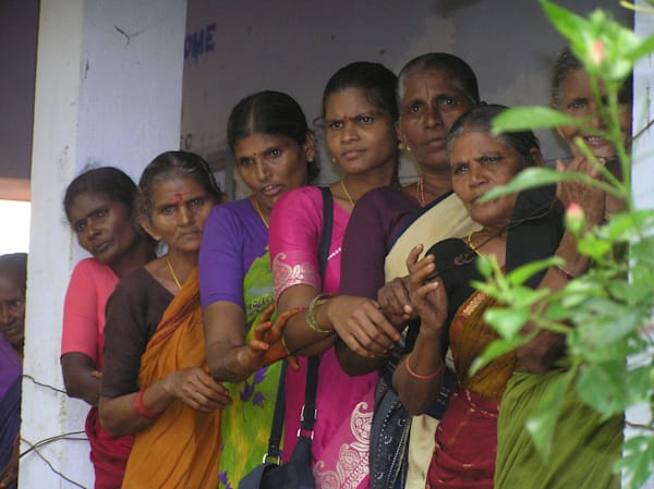Beautiful Ladies of India Waiting for Eye Exam
