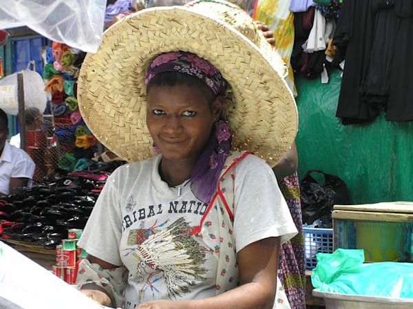 Market Vendor with Big Straw Hat