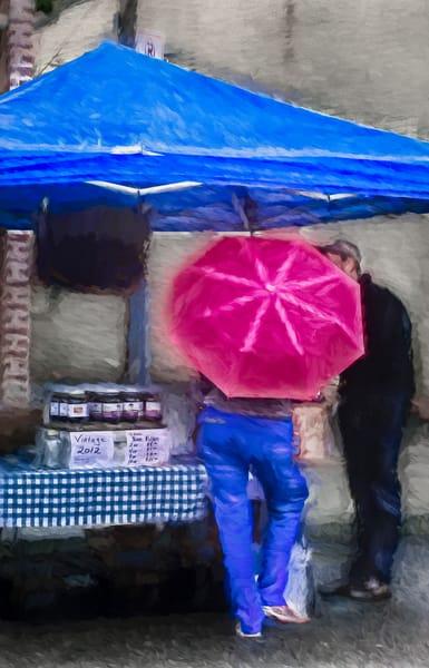 Market Rain Red Umbrella Painting|Wall Decor fleblanc