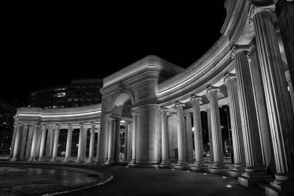 Black and White Photograph of Denver Civic Center Night Time