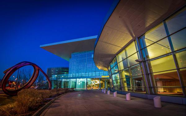 Denver Convention Center and Light Rail Tunnel Dusk Photo