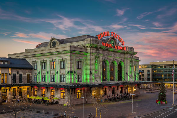 Sunset Photograph of Denver Union Station with Christmas Lights & Decorations