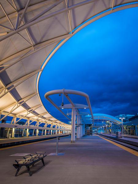 Vertical Photograph of Denver Union Station Train Hall at Dusk