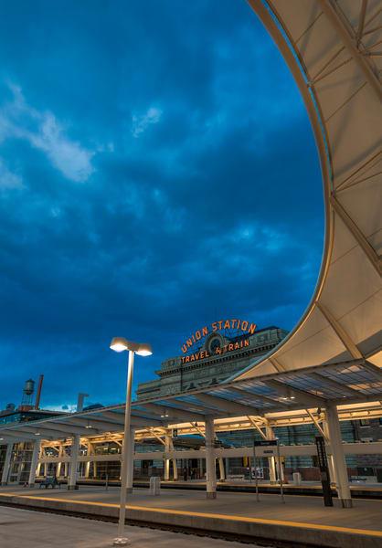 Denver Union Station Train Hall & Terminal Vertical Photo at Dusk