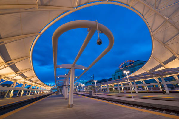 Photo of Denver Union Station Train Hall at Dusk