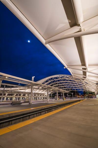 Denver Union Station Train Hall Twilight Photo Vertical Format