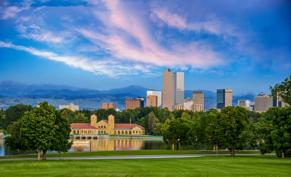 Photo of Denver Skyline from Denver City Park at Sunrise