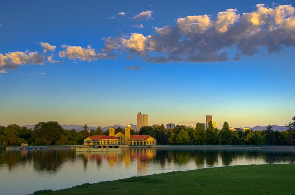 Denver's City Park and Boat House After Sunrise