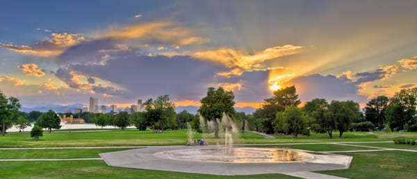 Denver City Park Sunset Light Rays and Public Fountain