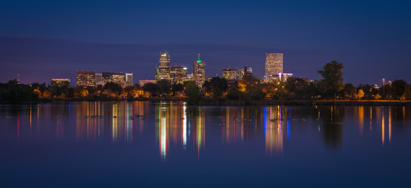 Photograph of Denver Skyline Reflection on Sloan's Lake after Sunset