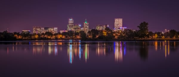 Photo of Denver Skyline Reflection Sloan's Lake Purple Sky Sunset