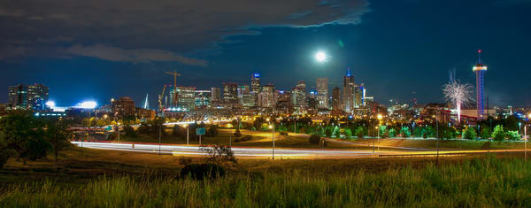 Panoramic Photo of Denver Night Skyline & Elitch Gardens Fireworks