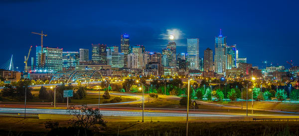 Denver Night Skyline Full Moon 16th Street Bridge Panoramic Photo