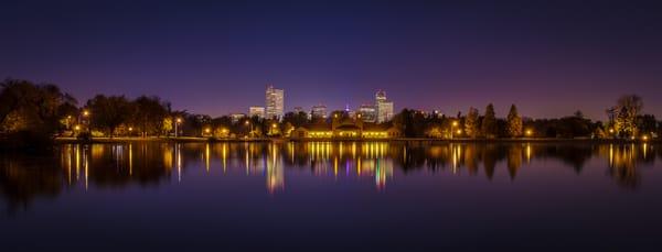 Panoramic Photo of Denver Night Skyline City Park Lake