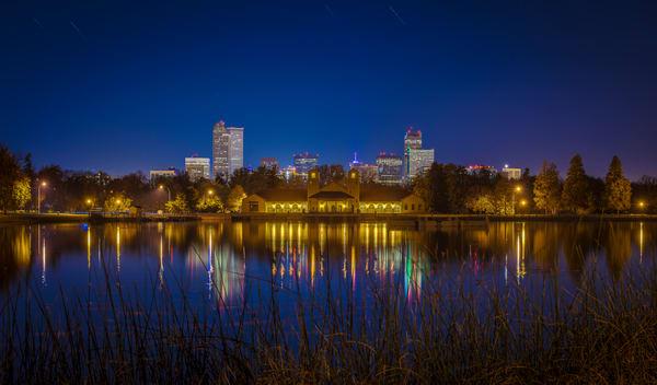 Photo of Denver Skyline & City Park Boat House at Night