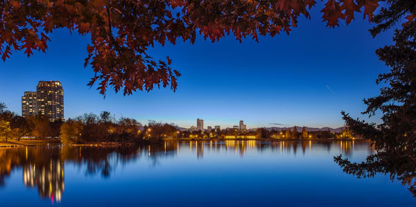 Photograph of Denver City Park Lake with Skyline Reflections