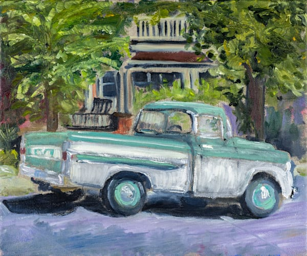 Prints of a 10x12 oil on canvas. 1959 Chev Apache seen in Hamilton, Ontario. This painting was painted by Janet Jardine onsite, en plein air, September 2016.
