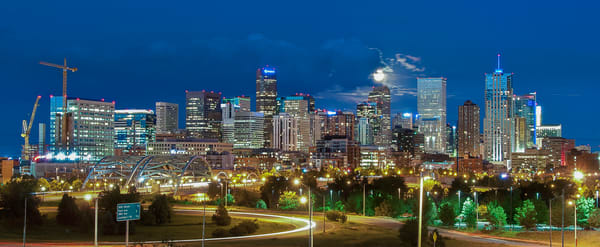 Photo of Denver Night Skyline Full Moon & 16th Street Bridge