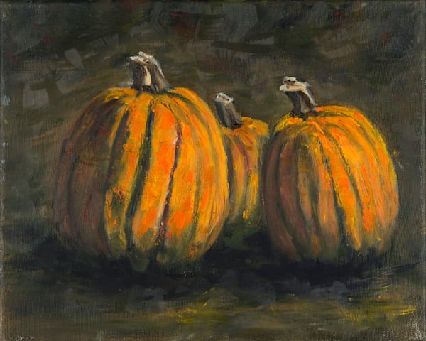 Pumpkins to trigger memories of Halloween and Thanksgiving - prints of an original oil painting by Janet Jardine