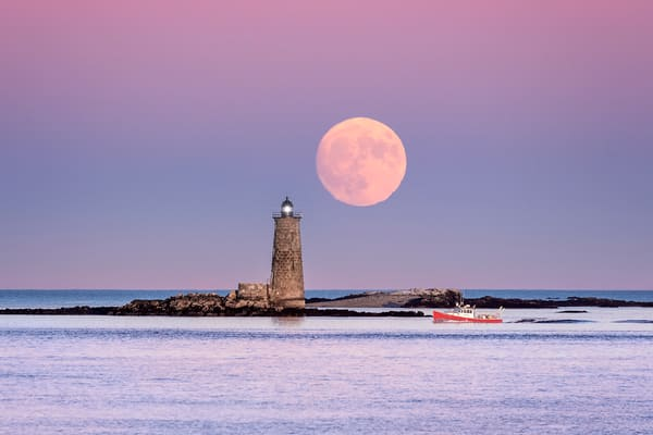 Full Moon at Whaleback Light, off the coast of Kittery Point, Maine, near Portsmouth, NH