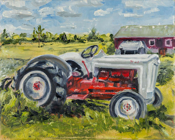 Tractor, Country Heritage Park, prints of an original 8x10 inches oil on canvas painting by Burlington artist Janet Jardine