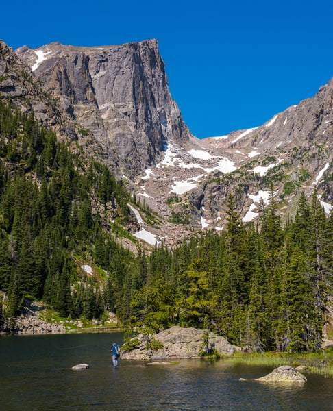 Picture of Fisherman Fly Fishing at Dream Lake RMNP Colorado