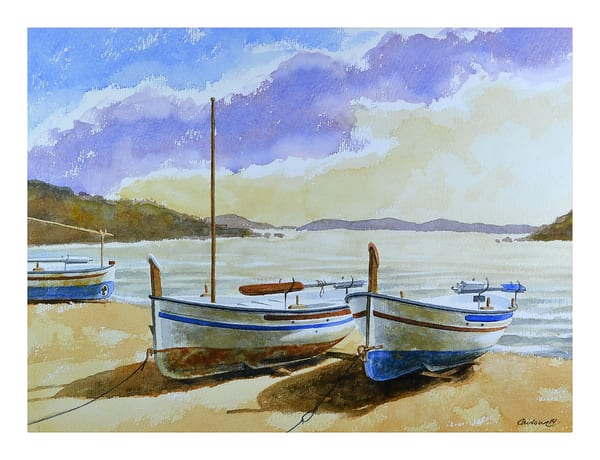 Two Boats Moored Art   Pixel Mouse House LLC