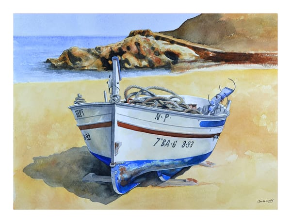 One Boat On Beach Art   Pixel Mouse House LLC