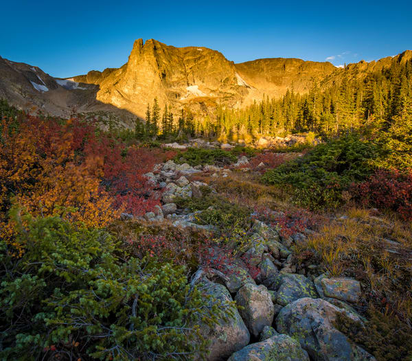 Notchtop Mountain Surrounded by Fall Colors Rocky Mountain National Park