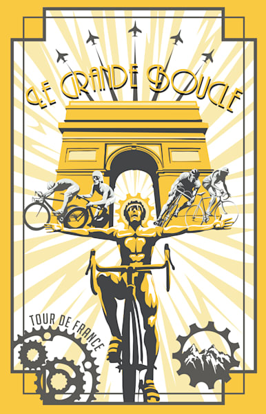 Retro Le Grande Boucle Tour de France, Tour de France art, Le Grande Boucle,  poster and prints, Champs Elysees, yellow jersey, motivational art, France, vintage cycling, bike art, vintage bike