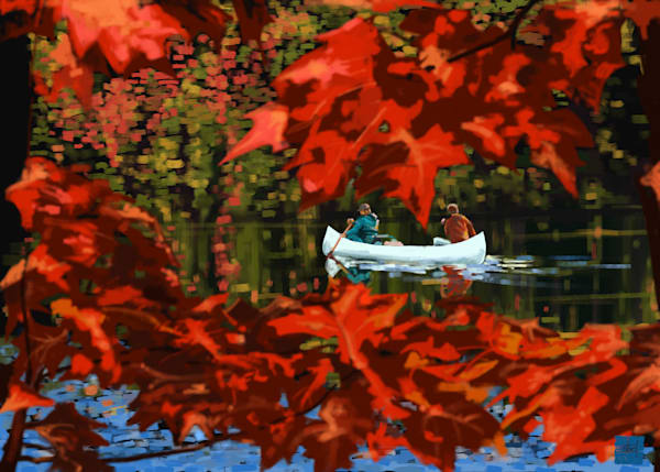 Canoe landscape art