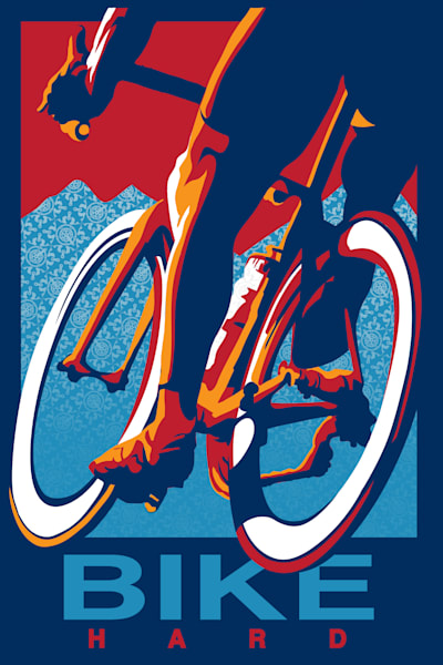 Retro Bike Hard cycling poster, cycling art, road racing, road bike, cyclist, motivational art, bike art,