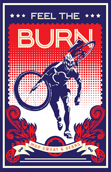 feel the burn, cyclocross, cycling posters and prints, cycling art, cyclocross art, bike art, red and blue, retro cycling