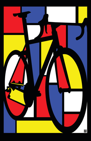 Mondrian Road bike, cycling art, road cycling, modern cycling art, contemporary cycling, bike art, road bike art, cyclist,