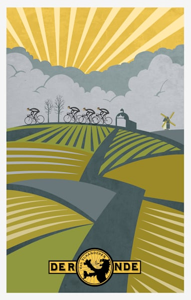 Ronde Van Vlaanderen cycling art, cycling art, classic cycling, retro cycling, vintage cycling, cycling poster, bike race, classic bike race, road racing, cycle, Belgium cycling,