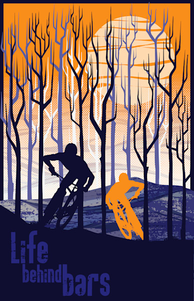 Retro style mountain bike art, cycling art, motivational art, modern retro, cycling, bike art,