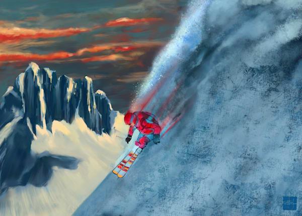 extreme ski, Revelstoke, downhill ski, powder ski, great outdoors, winter sport, alpine ski art, by Sassan Filsoof